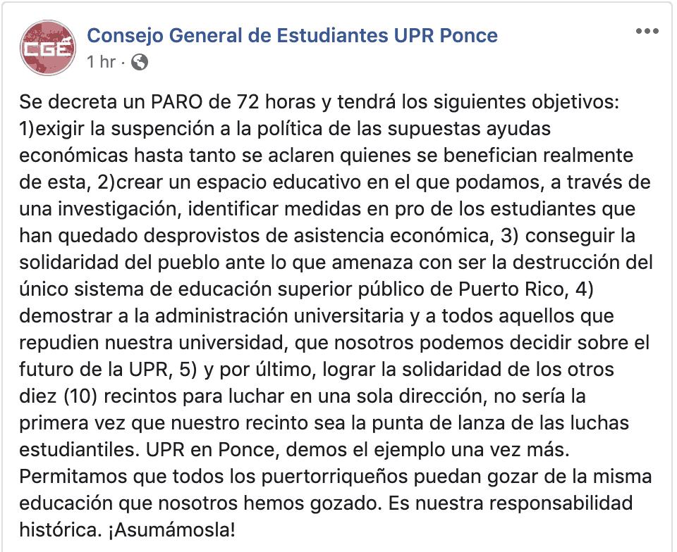 UPR de Ponce aprueba paro de 72 horas
