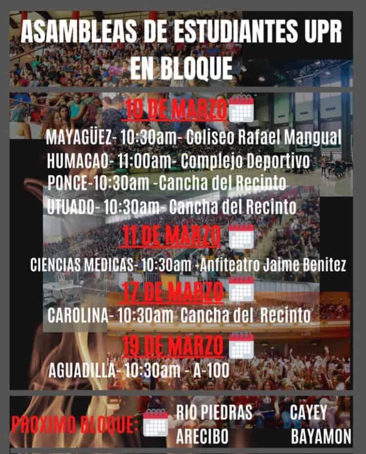 "Anuncian asambleas estudiantiles ""en bloque"" en el sistema de la UPR"